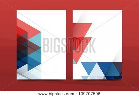 Geometric design A4 size cover print template - annual report brochure flyer design template vector, leaflet presentation abstract background
