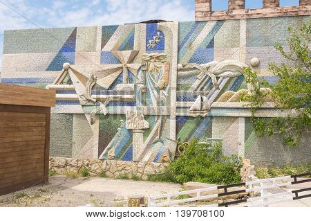Big Utrish, Russia - May 17, 2016: Stylized Wall Mosaic With The Words