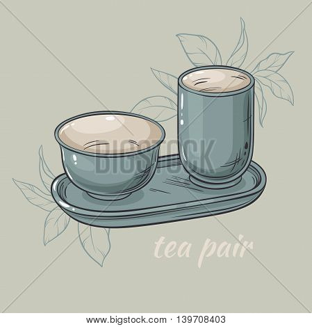 vector illustration with tea pair  on grey background