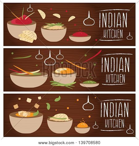 Set Of Banners For Theme Indian Cuisine With Different Tastes Flat Design. Vector Illustration