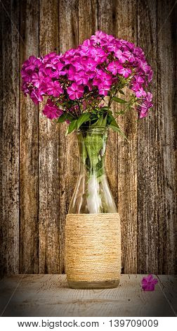 bouquet of phlox in a glass vase on a background of old barn boards. toned photo with vignette. selective focus