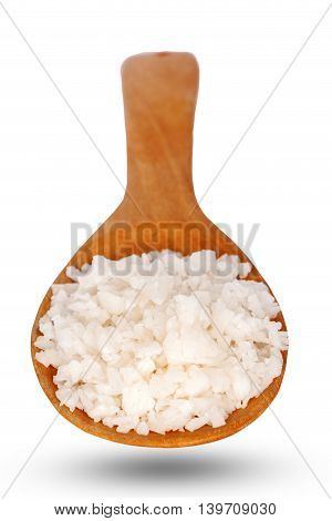 Salt on wooden spoon put on white background