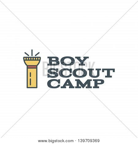 Boy scout camp logo design with typography and travel element - flashlight. Vector text. Hiking trail, backpacking symbols in retro flat colors. Nice for prints, tee design.
