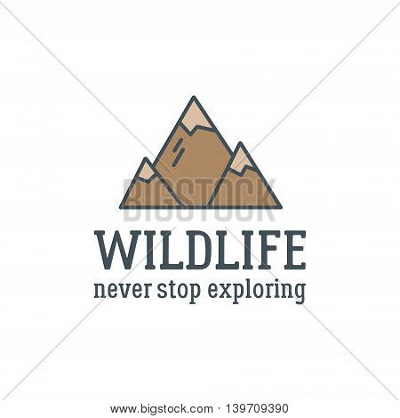 Camping logo design with typography and travel elements - mountain. Vector text - wildlife, never stop exploring. Hiking trail, backpacking symbols in retro flat colors. Nice for prints, tee design.