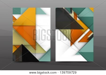 Colorful geometric A4 business print template. Brochure or annual report cover, vector business flyer layout, geometric abstract poster, identity illustration