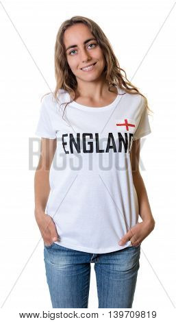 Laughing female sports fan from England on an isolated white background for cut out
