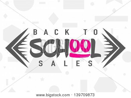 Vector illustration of back to school greeting card with typography element on seamless geometric background with circle, line, triangle, rectangle, star. Cool Back to school sales sign