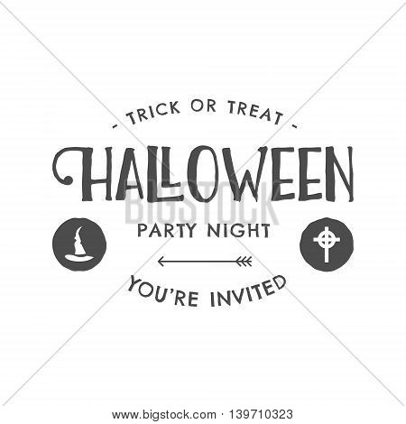 Halloween 2016 party invitation label templates with scary symbols - witch hat and typography elements. Use for party posters, flyers, invitations, t-shirt, tee design, apparel. Vector illustration