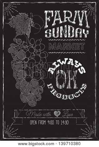 Poster on the chalkboard on the Sunday market. Font composition lettering
