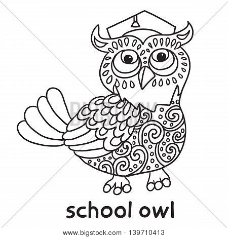 Back to school. Cute School Owl. Beautiful vector design.