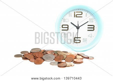 Use time and money for cure concept, Clock with coins on white background