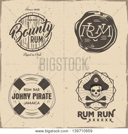 Set of vintage handcrafted pirates emblems, labels, logos. Isolated on a scratched paper background. Sketching filled style. Pirate and sea symbols - rum bottle, barrel, skull. Vector illustration