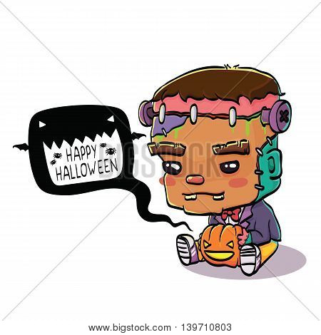 Vector Illustration of Cute Cartoon Character Frankenstein for Halloween, Isolated on White Background