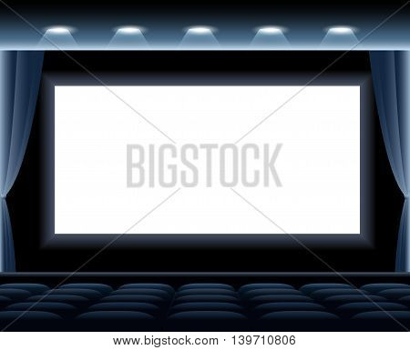 Dark cinema hall. White screen and blue row chairs