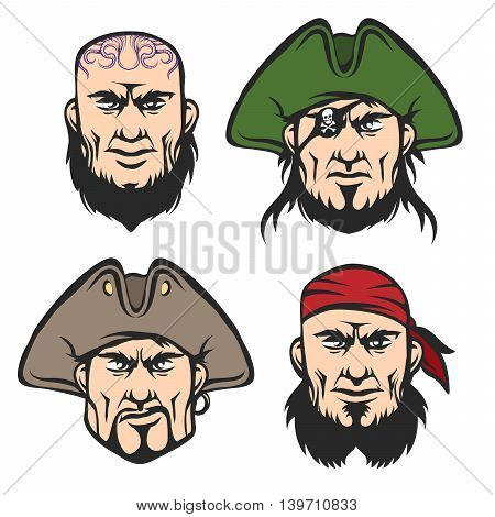 Pirate Mascot Faces Set. Cartoon One eyed captain boatswain cannoneer and shipman in cartoon style. Isolated on white.