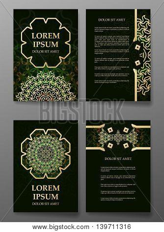 Brochure templates cards with arabic mandala. Vector illustration