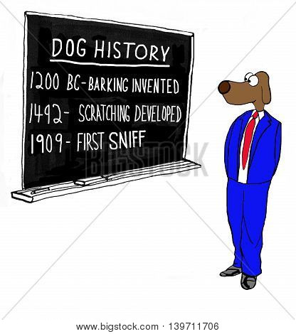 Cartoon about the history of dogs on a blackboard.