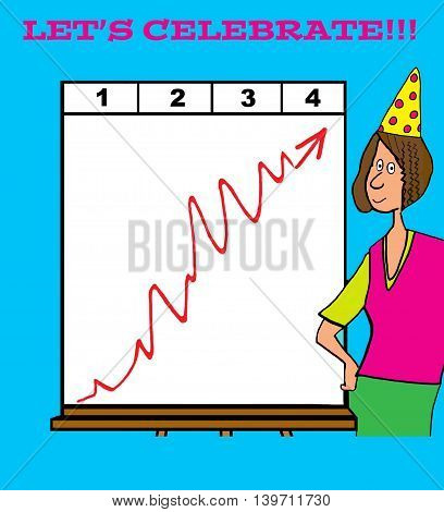 Business cartoon about businesswoman celebrating sales growth.