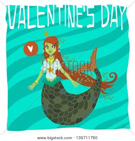 Flat greeting card. For game presentation, user interface tablet, smart phone. With cute mermaid.