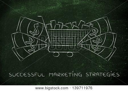 Full Shopping Cart & Big Cash Around It, Marketing & Consumerism