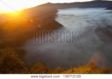 Sunrise Mountains.Africa Nature Morning Volcano Viewpoint.Mountain Trekking, Valley View Landscape . Nobody photo. Horizontal picture. The first rays of the rising sun