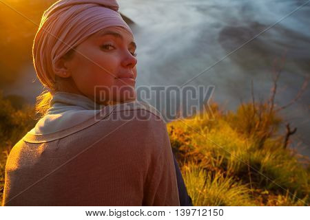 Portrait Young Pretty Girl Sunrise Mountains.Africa Nature Morning Volcano Viewpoint.Mountain Trekking, View Landscape.Woman Engaged Yoga Meditation.Horizontal picture.First Rays Rising Sun