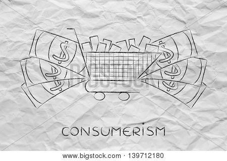Full Shopping Cart & Big Cash Around It, Marketing & Consumerism
