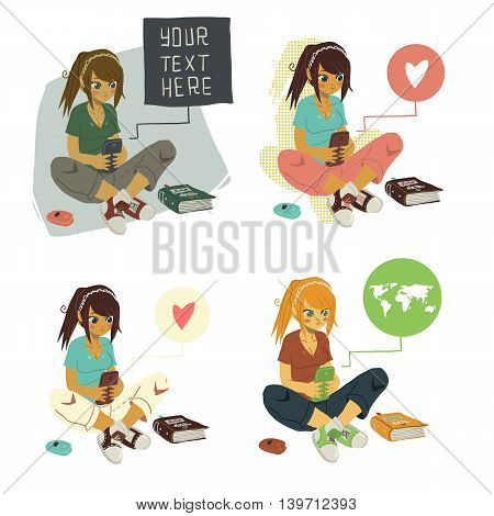 The vector illustration of young cartoon girl writing message on her mobile phone for ui, web games, tablets, wallpapers, and patterns.