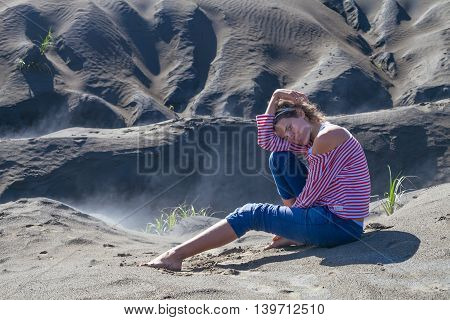 Portrait Smiling Young Girl Sunrise Desert.Asia Nature Morning Sands Viewpoint.Woman Engaged Yoga Meditation Practice.Horizontal Picture.Blurred Background