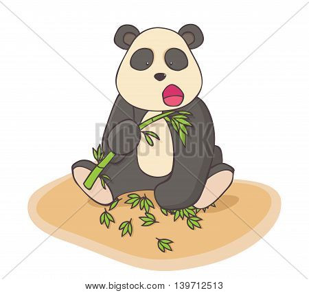 Hand drawn Panda eats bamboo. Fun image for children.