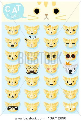 Cat emoji icons , vector , illustration