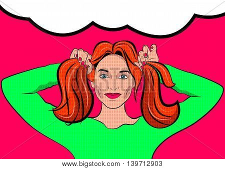 Pop Art Woman with pigtails. Pigtails hairstyle. Comics vector.