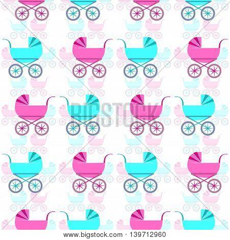 Nice seamless pattern with retro baby carriages. Vector EPS 10