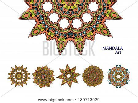 Set of colorful mandalas. Decorative round ornaments. Yoga logos, backgrounds for meditation poster.