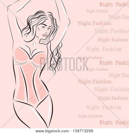 Woman is dressed in lingerie. Text pattern. Night fashion. Vector illustration.