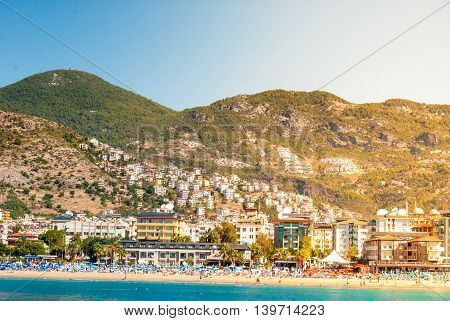 Alanya city and beach of Cleopatra, Turkey.