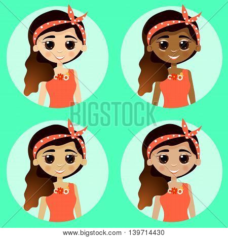 Set girl avatars isolated on turquoise background. Woman with different skin tones. Beautiful girls in cute and simple flat cartoon style. Vector.