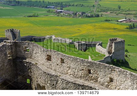 Inside The Walls Of Spis Castle With Panorama Of Meadows - Spissky Hrad National Cultural Monument (