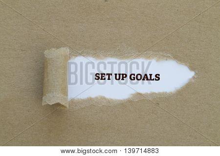 SET UP GOALS message written under torn paper.