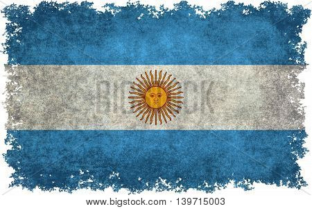 Argentine national flag with worn textures and distressed edges