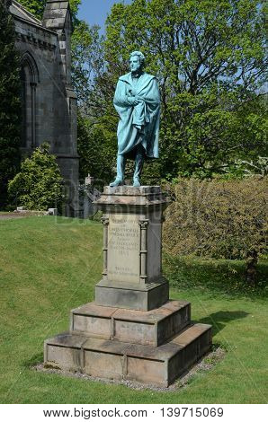 A view of a landmark statue in the village of Falkland