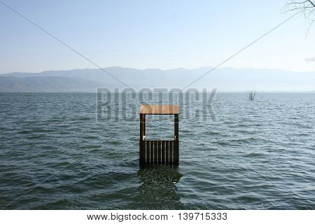 Flooded lifeguards cottage in Dojran lake in Macedonia