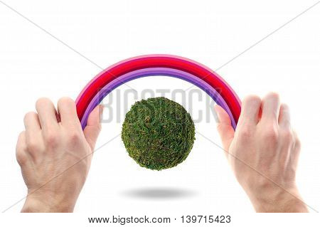 Abstract Green Planet On A White Background Under A Rainbow