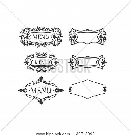 Set of three vintage frames with decorative and floral elements for decoration, retro frames suitable for menu decorations, cards, invitations. Vector illustrations