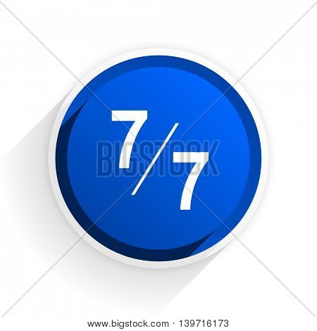 7 per 7 flat icon with shadow on white background, blue modern design web element