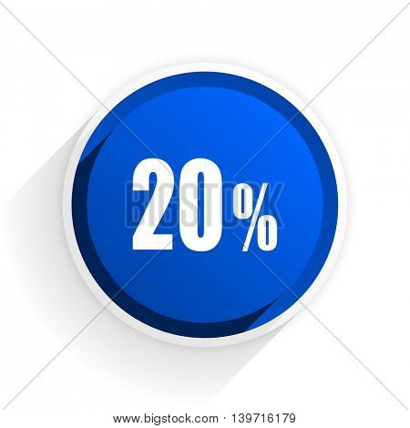 20 percent flat icon with shadow on white background, blue modern design web element