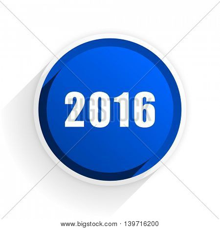 year 2016 flat icon with shadow on white background, blue modern design web element