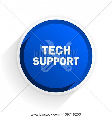 technical support flat icon with shadow on white background, blue modern design web element