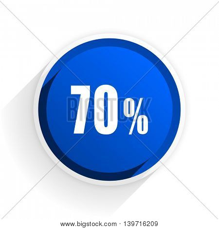 70 percent flat icon with shadow on white background, blue modern design web element