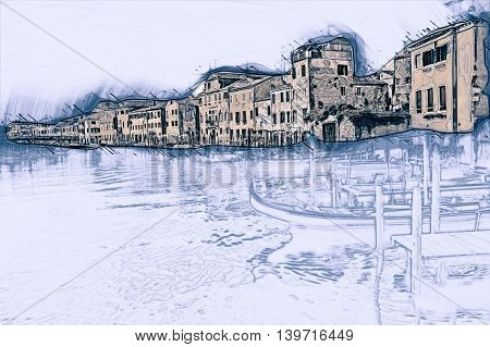 Beautiful colorful image of a canal in Venice with moorings and a gondola in the forefront and old houses under blue cloudy sky in the background. Painting of travel scene, pencil outlines of background.